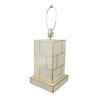 White Cream Mirrored and Brass Table Lamp