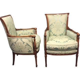 Refurbished Damask Print Armchairs - A Pair