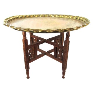 Moroccan Brass Tray Accent Table