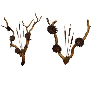 Hand Crafted Wood Cattail Wall Sculptures - A Pair