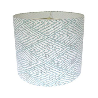 Large Lacefield Designs Tahitian Stitch Aqua Custom Drum Lamp Shade