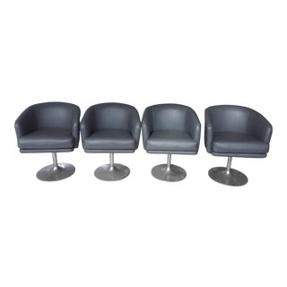 Mid-Century Modern Swivel Chairs with Aluminum Feet - Set of 4