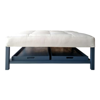 Gambrell Renard Tufted Leather Austin Ottoman With Trays