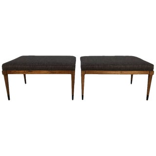 T.H. Robsjohn-Gibbings Walnut & Metal Benches - a Pair