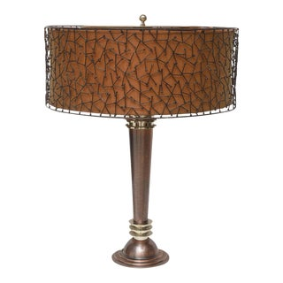 American Art Deco, Copper and Steel Lamp Attributed to Donald Deskey