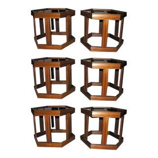 Brown Saltman Octagonal Occasional Tables - Set of 6