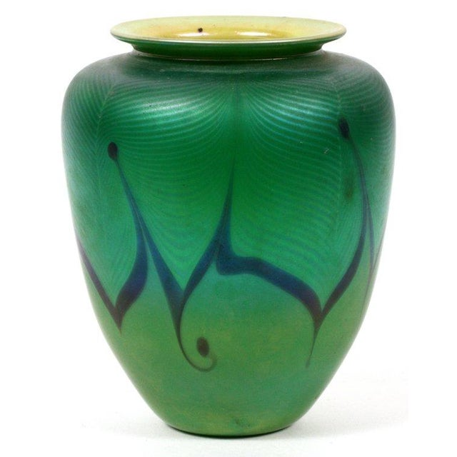 Image of Richard Satava Green Art Glass Vase, C. 1979