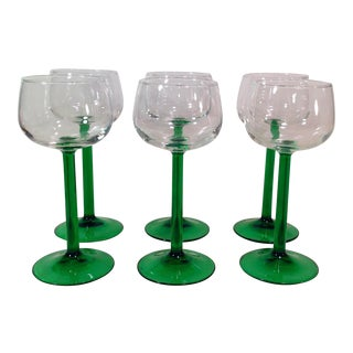 Mid-Century Modern Emerald Green Stem Wine Glasses- Set of 6