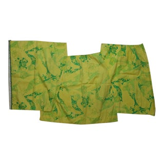 Lilly Pulitzer Green & Yellow Floral Pattern Fabric Swatches - Set of 3