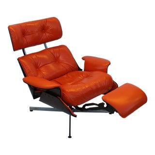 "Rare Mid Century Modern Eames Style Recliner ""Hermes"" Orange Lounge Chair"