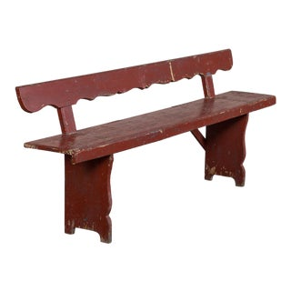 Antique Painted Romanian Bench, Original Paint circa 1890