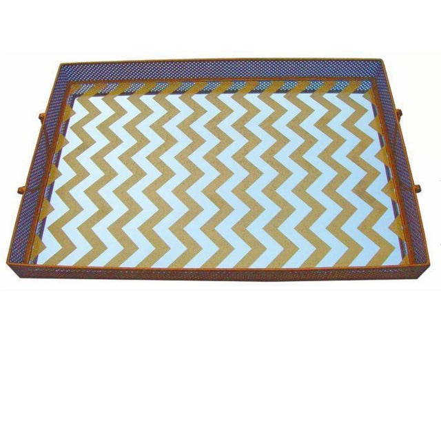 Mirrored Gold Chevron Tray - Image 1 of 4