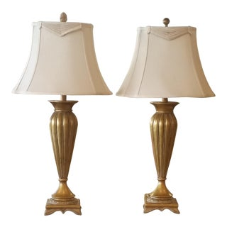 Pair of Gold and Ivory Table Lamps