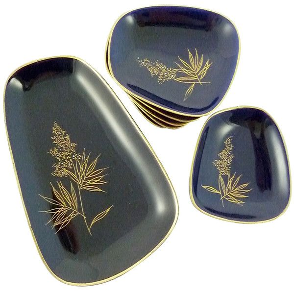 Mid-Century Cobalt Serving Dishes - Set of 7 - Image 1 of 4