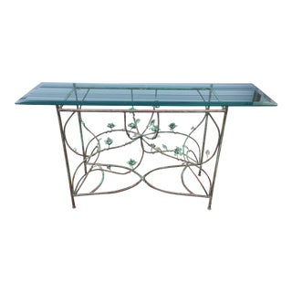 Contemporary Copper Glass Top Console Table