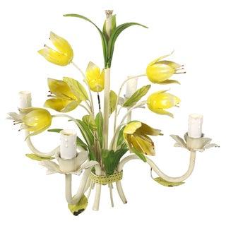 Italian Yellow Tulip Toleware Chandelier
