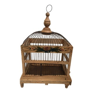Venetian Wood & Wire Bird Cage