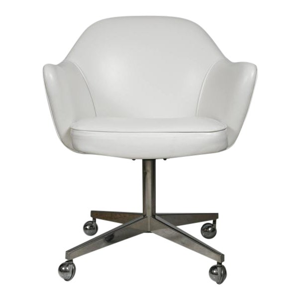 Knoll Desk Chair in White Leather - Image 1 of 7