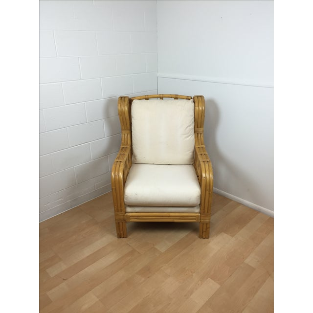 Ralph Lauren Bent Bamboo Chaise and Ottoman - Image 4 of 5