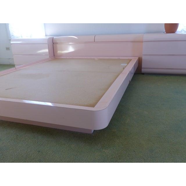 Image of Vintage Formica Bedframe & 2 Matching Storage Bins