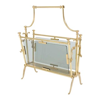 Victorian Style Brass & Smoked Glass Magazine Stand