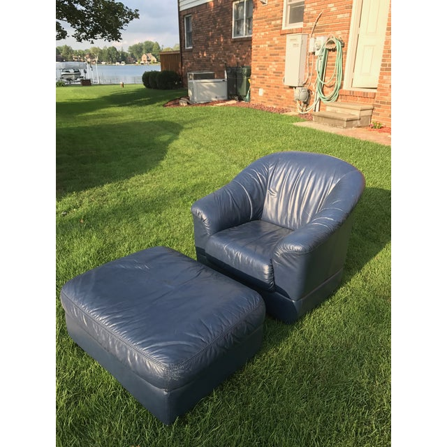 Mid-Century Modern Blue Leather Barrel Chair & Ottoman - Image 3 of 7