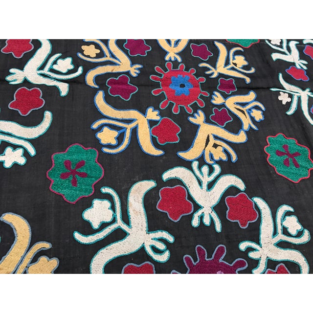 Dark Gray Floral Pattern Antique Suzani Textile - Image 3 of 6