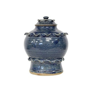 Blue Glazed Stoneware Lidded Jar
