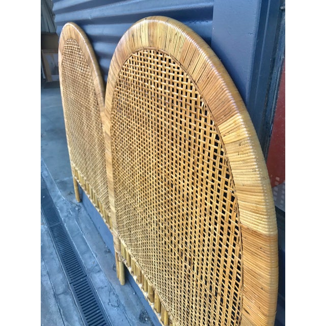 Vintage Rattan Caning Twin Headboards - A Pair - Image 7 of 10