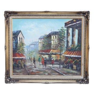 French Street Scene Oil Painting