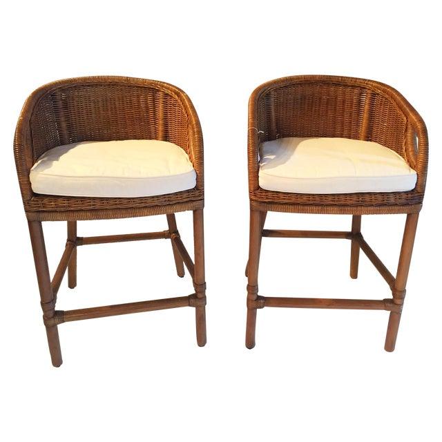 Contemporary Wicker Barstools - Pair - Image 1 of 5