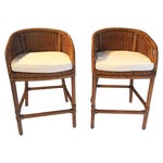 Image of Contemporary Wicker Barstools - Pair