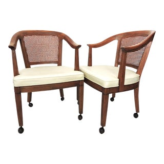 Caned Club Chairs on Casters - a Pair