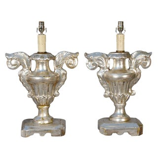 Pair of 19th Century Silvergilt Pricket Base Urn Lamps