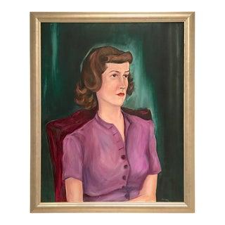Mid-Century Original Oil on Canvas Female Portrait Painting