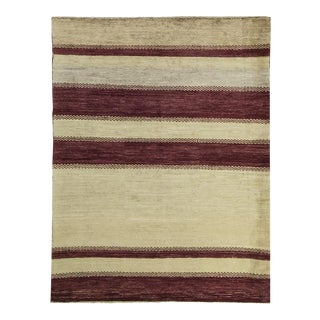 Red Stripe Contemporary Handwoven Rug - 4′5″ × 5′10″