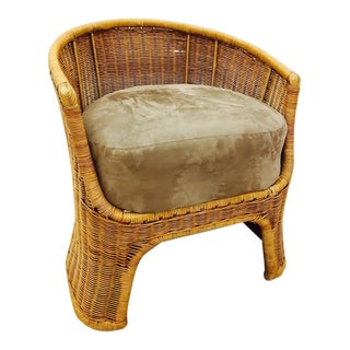 Vintage Woven Wicker Accent Chair