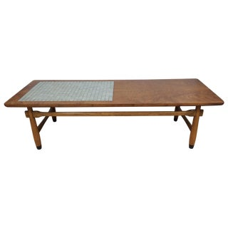 Lane Walnut and Tile Top Coffee Table