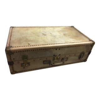 Old English Large Vellum Steamer Trunk & Key