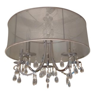 Silver Crystal Drum Shade Chandelier