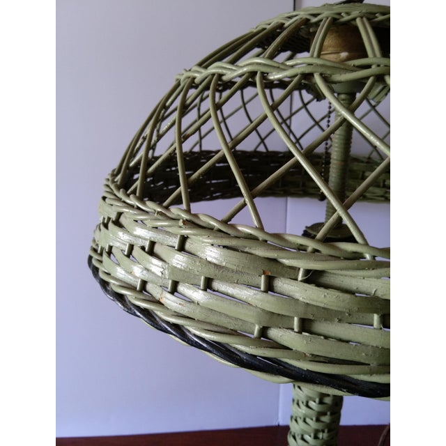 Antique Haywood Wakefield Era Wicker Table Lamp - Image 8 of 10