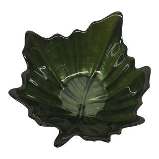 Green Glass Trinket Dish Leaf Shape