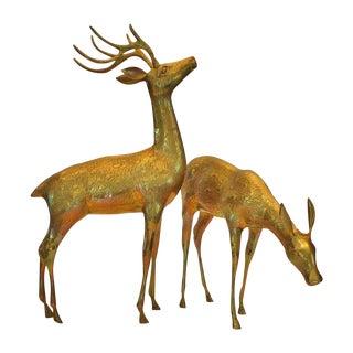 Large Vintage Brass Reindeer - A Pair