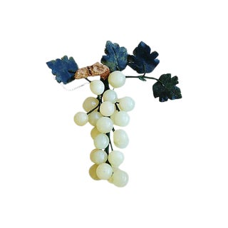Mid-Century Carved Jade Grape Cluster