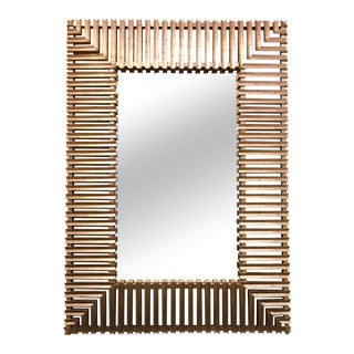 Art Deco Style Modern Carved White Gold Mirror by Christopher Guy 7'