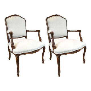 Carved Walnut Louis XVI Style Armchairs - A Pair