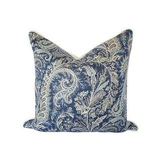 Blue & White Paisley Linen Pillow 24x24