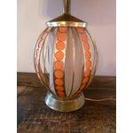 Image of Mid Century Modern Orange Dot Brass Lamp