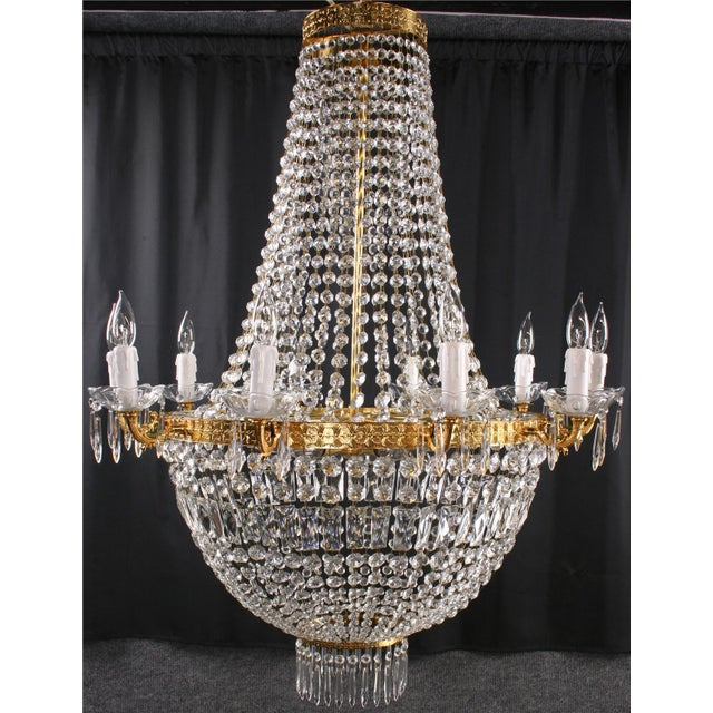 Italian Cut Glass Empire Napoleon Style Chandelier - Image 6 of 6