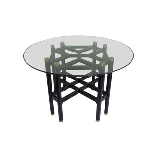 Vintage Chinoiserie Style Black Lacquer Dining Table